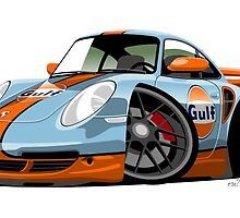 Porsche 911 (997) turbo caricature Gulf by car2oonz