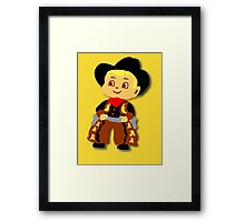 Retro cute Kid Billy Cowboy tee Framed Print