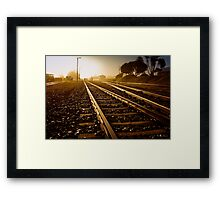 Railway Tracks at sunrise and twilight sky Framed Print