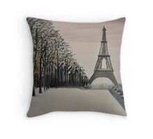 """Parisian Winter"" a walk in the park Throw Pillow"
