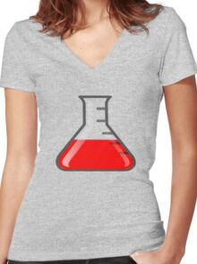 Flask Science Women's Fitted V-Neck T-Shirt