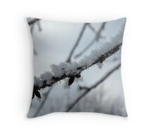Upclose and Snowcovered Throw Pillow