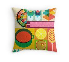Wondercook Food Kitchen Pattern Throw Pillow