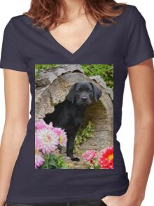 Lab puppy playing hide and seek Women's Fitted V-Neck T-Shirt