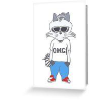 Raccoon OMG Design Greeting Card