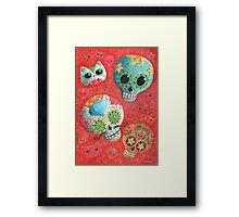 Colourful Sugar Skulls Framed Print