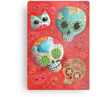 Colourful Sugar Skulls Metal Print