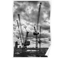 Tower Cranes on City of London Skyline Poster