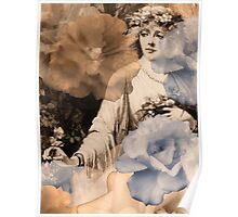 Ghosted/Echoed Roses and Woman Gathering Flowers Poster