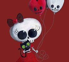 Halloween Little Miss Death with Balloons by colonelle