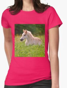 Foal in a sea of tall grass Womens Fitted T-Shirt