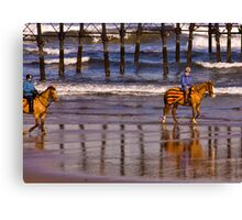 Ride Along The Beach - Saltburn Canvas Print