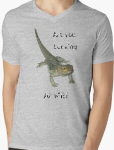 Lizard - Are you looking at ME! Mens V-Neck T-Shirt