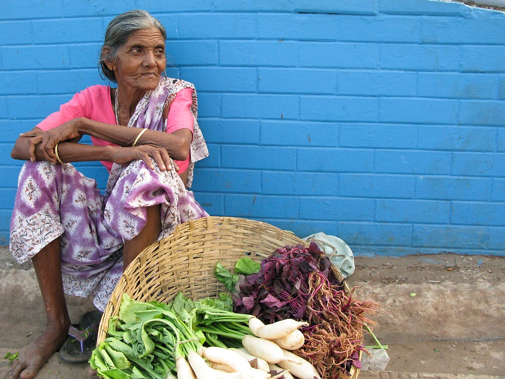 Woman selling Vegetables, Goa, India by Rachel  Devenish Ford