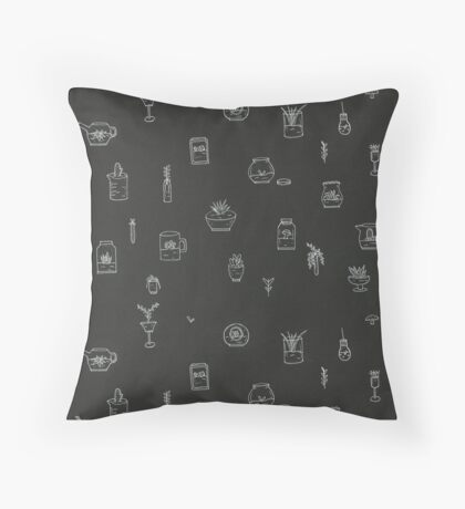 Plants in Glass Throw Pillow