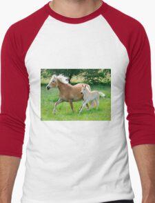 Haflinger mare with foal running  Men's Baseball ¾ T-Shirt