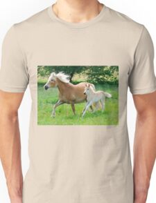 Haflinger mare with foal running  Unisex T-Shirt