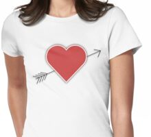 Cupid's Arrow Through The Heart, Loveheart Womens Fitted T-Shirt