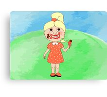 Girl with ice-cream Canvas Print