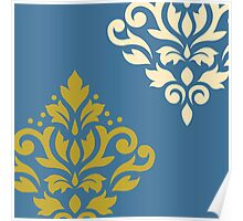 Scroll Damask Art I Gold & Cream on Blue Poster
