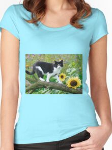 Tuxedo cat and sunflowers Women's Fitted Scoop T-Shirt