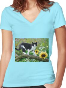 Tuxedo cat and sunflowers Women's Fitted V-Neck T-Shirt
