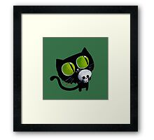 Black Halloween Cat with Skull Framed Print