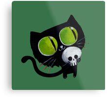 Black Halloween Cat with Skull Metal Print