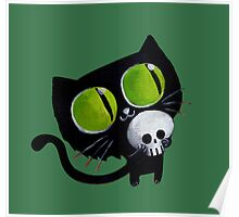 Black Halloween Cat with Skull Poster