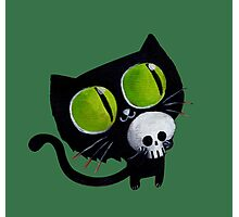 Black Halloween Cat with Skull Photographic Print
