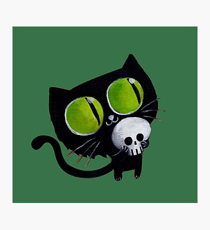 Black Halloween Cat with Skull Photographic Print