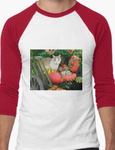 Cat and pumkins Men's Baseball ¾ T-Shirt