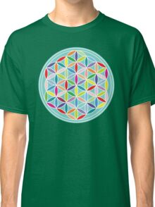 Flower of Life – Multicoloured on Blue Classic T-Shirt