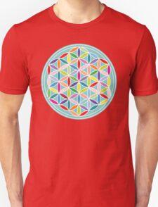 Flower of Life – Multicoloured on Blue Unisex T-Shirt