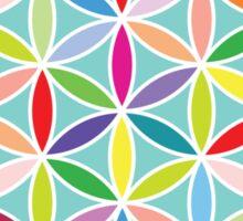 Flower of Life – Multicoloured on Blue Sticker