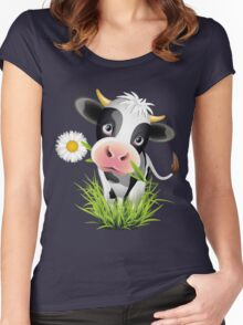 Cute cow with pretty eyes Women's Fitted Scoop T-Shirt