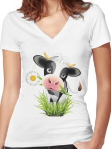 Cute cow with pretty eyes Women's Fitted V-Neck T-Shirt