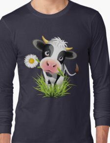 Cute cow with pretty eyes Long Sleeve T-Shirt