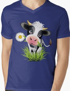 Cute cow with pretty eyes Mens V-Neck T-Shirt