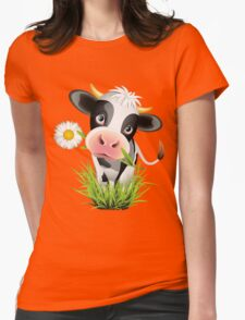 Cute cow with pretty eyes Womens Fitted T-Shirt