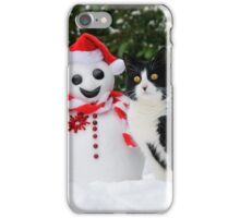 Cat by the side of Santa snowman iPhone Case/Skin
