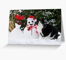 Cat by the side of Santa snowman Greeting Card