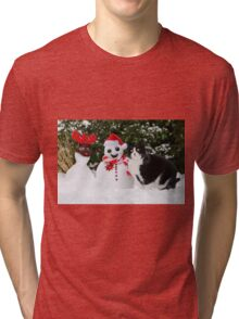 Cat by the side of Santa snowman Tri-blend T-Shirt