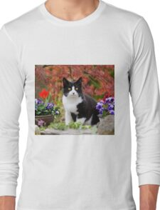 Tuxedo cat in front of a Japanese Maple Long Sleeve T-Shirt