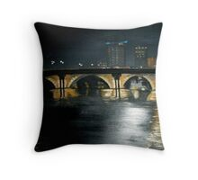 bristol bridge at night Throw Pillow