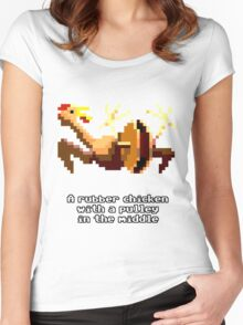 Monkey Island - Rubber chicken with a pulley in the middle Women's Fitted Scoop T-Shirt