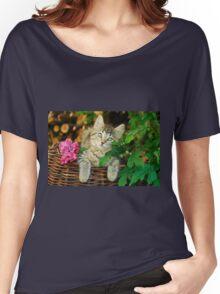 Cutie young kitten on a wicker basket  Women's Relaxed Fit T-Shirt