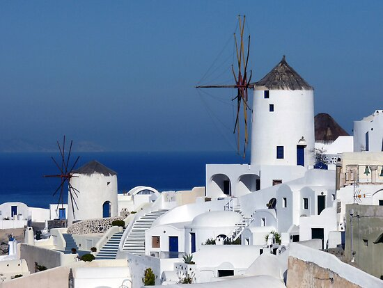 Windmills of Oia Santorini Greece by Lucinda Walter