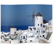 Windmills of Oia, Santorini, Greece Poster