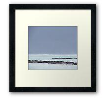 Grey sky, Blue sea Framed Print
